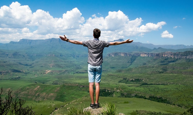 guy standing on a mountain